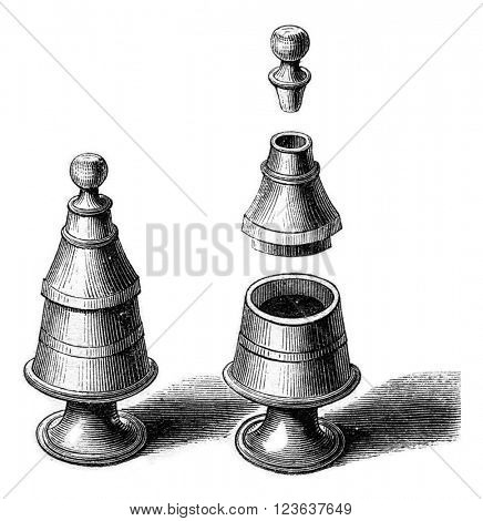 Old pepper mill, vintage engraved illustration. Magasin Pittoresque 1869.