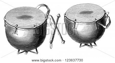 German timpani sixteenth and seventeenth century, vintage engraved illustration. Magasin Pittoresque 1869.