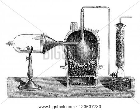 Preparation of aluminum chloride, vintage engraved illustration. Magasin Pittoresque 1869.