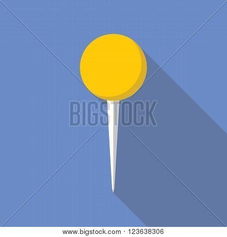 Pin vector icon flat design. Pin icon in flat style with long shadow. Pin flat icon symbol. Pin vector icon flat design element. EPS10 vector illustration.