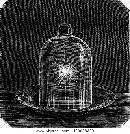 Iron combustion in oxygen, vintage engraved illustration. Magasin Pittoresque 1869.