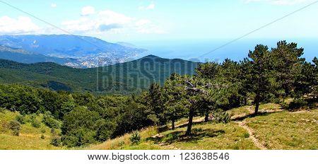 View on Yalta city from the Ai-Petri mountain on Crimean peninsula