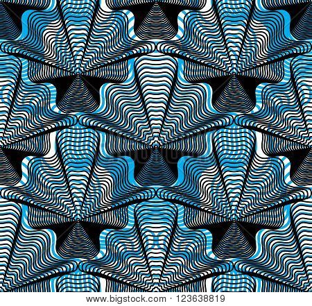 Vector bright stripy endless overlay pattern art continuous geometric background with graphic lines. Kaleidoscope effect.