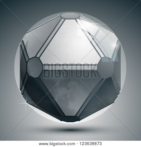 Plastic pixel grayscale dimensional sphere created from geometric figures shiny dotted futuristic globe.