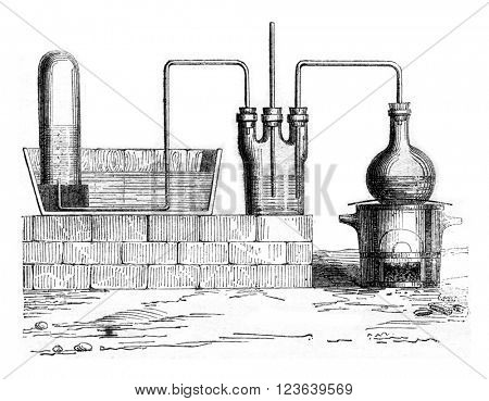 Device to prepare hydrochloric acid, vintage engraved illustration. Magasin Pittoresque 1857.