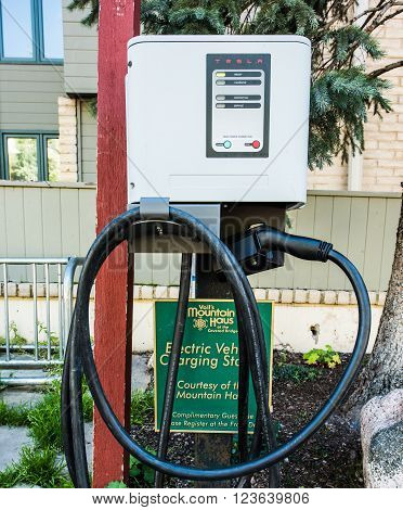 Vail, USA - September 10, 2015: A Tesla charger by a hotel in Vail, Colorado