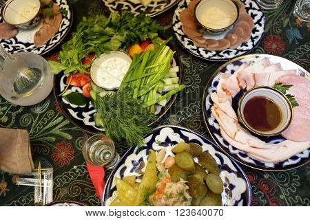 Plates With Various Appetizers