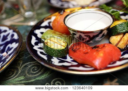 Various Grilled Vegetables With Sauce