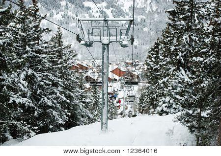 Chairlift intermediate tower at Meribel ski resort, France