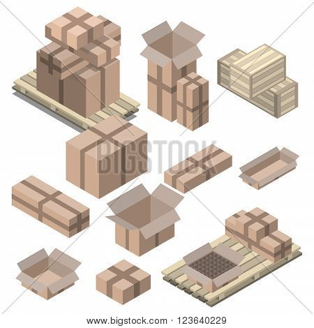Set of isometric cardboard boxes isolated on white. Vector boxes and shelving wood pallets.