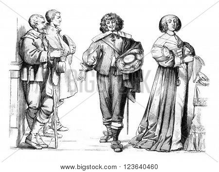 Woman in full uniform, and Gentleman Farmer in 1635, vintage engraved illustration. Magasin Pittoresque 1857.