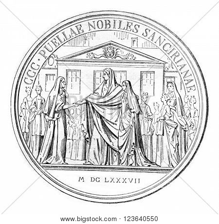 Commemorative Medal of the foundation of the house of Saint-Cyr, vintage engraved illustration. Magasin Pittoresque 1857.