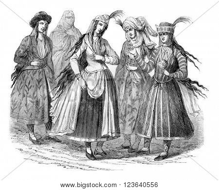 Ladies Persian costumes in 1666, vintage engraved illustration. Magasin Pittoresque 1857.