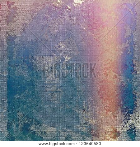 Vintage graphic composition with grunge style elements and different color patterns: blue; red (orange); purple (violet); gray; pink