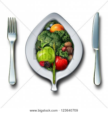 Nutrition healthy lifestyle concept as a 3D plate fork and knife with a group of vegetables fruit berries and nuts as a detox healthy antioxidant food lunch or dinner on a white background.