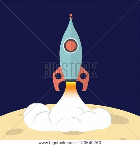 Rocket launch into space from the surface of the moon. Flat illustration.