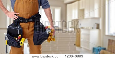 Builder handyman in new house.
