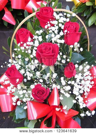 beautiful bouquet of red roses and flowers to give