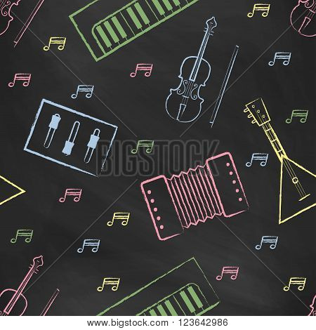 Seamless pattern black chalk board with color children's chalk drawings. Hand-drawn style. Seamless vector wallpaper with the image of musical instruments  piano, balalaika, mixer, violin bow, note