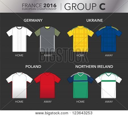 Vector Illustration of home and away football EURO 2016 shirts from the teams of the group C (Germany, Ukraine, Poland and Northern Ireland)