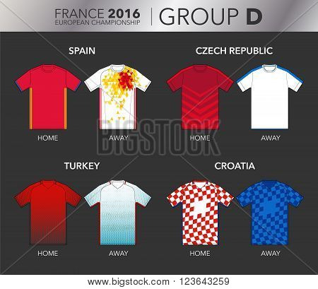 Vector Illustration of home and away football EURO 2016 shirts from the teams of the group D (Spain, Czech Republic, Turkey and Croatia)