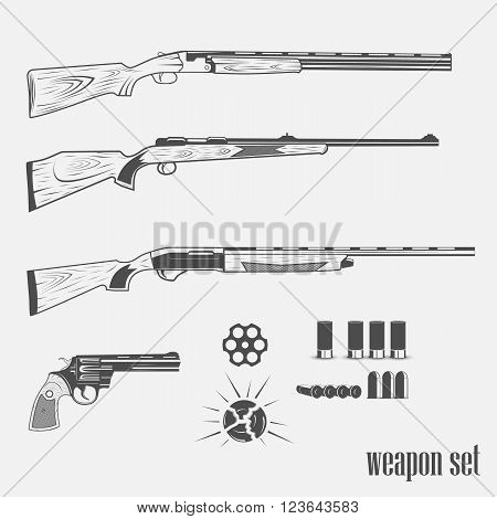 set of weapons in vintage style on a white background