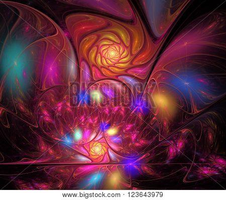 illustration background with a spiral fractal bright flower