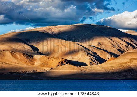 Himalayan lake Tso Moriri (fficial name: Tsomoriri Wetland Conservation Reserve) on sunset, Korzok,  Changthang area, Ladakh, Jammu and Kashmir, India