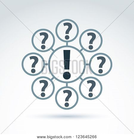 FAQ concept ask and answer theme. Vector discussion symbol with exclamation and question marks.