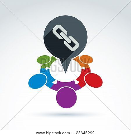 Vector colorful illustration of social bonds. Connection between group of people, international team Speech bubble icon.