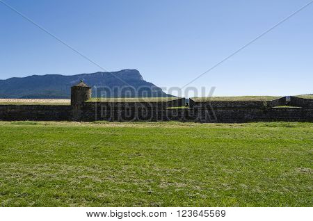 Medieval stone fortification, citadel in northern Spain