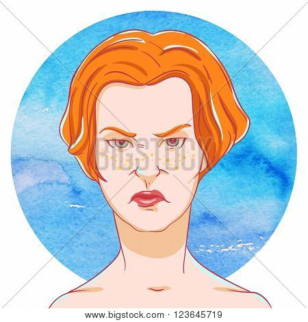 Portrait of suspicious young girl red hair on on the watercolor background