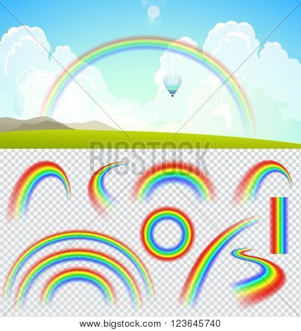 Set of transparent realistic rainbows. Summer landscape with clouds and rainbow