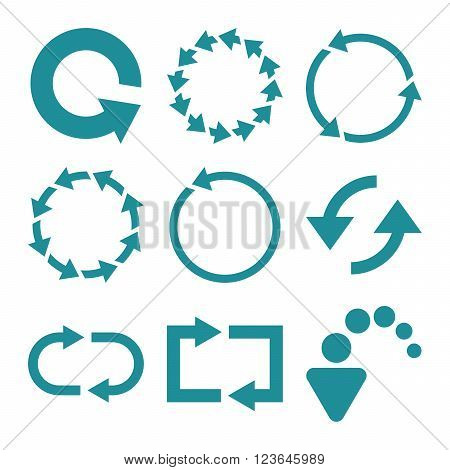 Rotate Arrows vector icon set. Collection style is soft blue flat symbols on a white background.