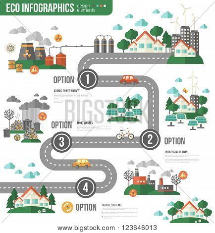 Ecology Infographics with Town Road. Vector illustration. Environmental template with flat icons. Eco City and Sustainable Architecture. Buildings with solar panels. Pollution by toxic factories.