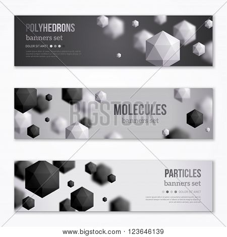 Horizontal Banners Set with Black and White Polyhedrons. Vector illustration. Crystals. Technology, Scientific Backdrop. Geometric Shapes Background. Abstract Molecules Design.