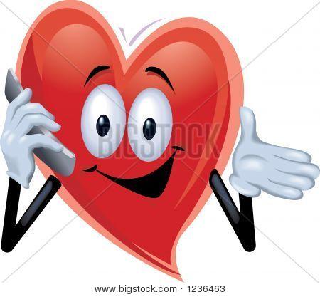 Hombre de corazón en el teléfono celular