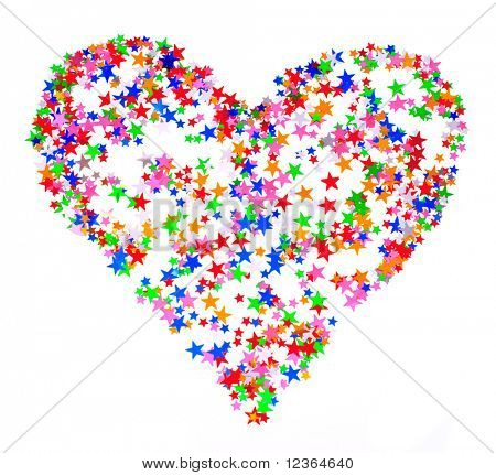 Star shaped confetti  in the shape of heart on white background