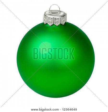 Green Christmas bauble on white background
