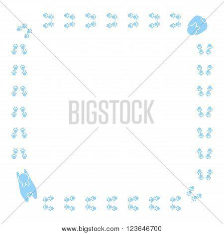 Cute cartoon bunny pawprint. Vector animal footprint frame border.