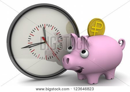 Time is money. Analog clock and piggy bank with a coin of the Russian ruble on a white surface. Financial concept. 3D illustration. Isolated