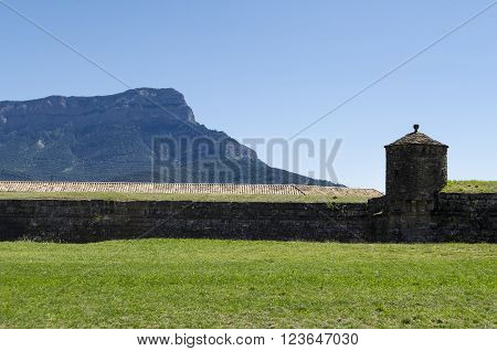 Medieval stone fortification, citadel in Aragon, Spain