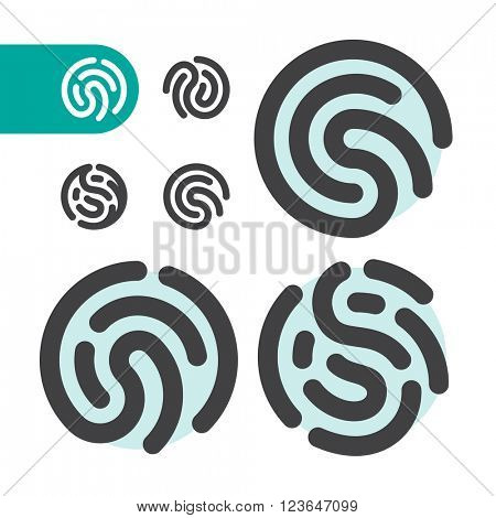 Fingerprint logo. Fingerprint security system. Vector fingerprint illustration