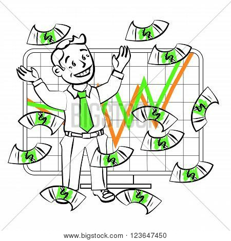 The graphics in the vector. Happy SIM trader catch money. Design for presentations showing success. Stock graph growth high sales or an increase in the value of assets on the exchange.