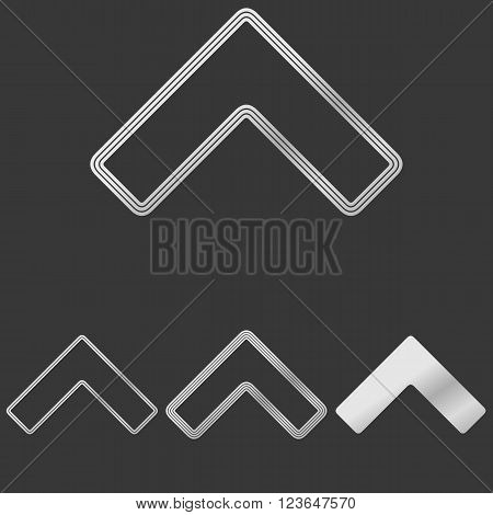 Silver line arrow icon logo design set
