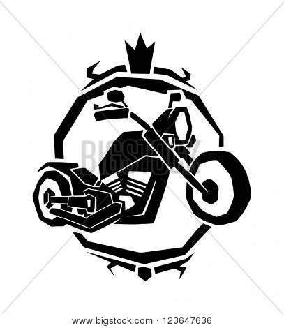 Motorcycle label badge vector. Black icon and moto club illustration