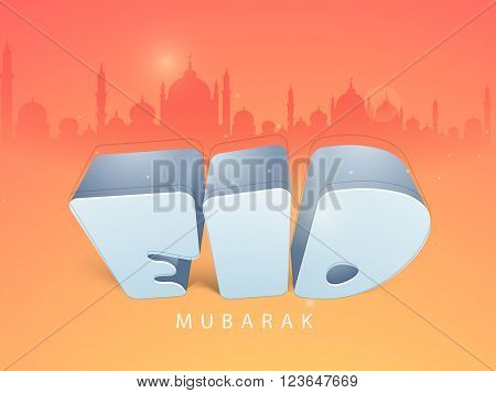 Glossy 3D text Eid on Mosque silhouetted background for Holy Festival of Muslim Community celebration.