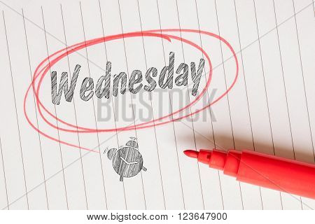 Wednesday Note With A Red Marker