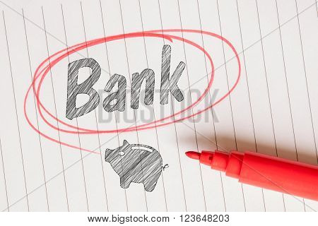 Bank Note With A Piggy Bank Drawing