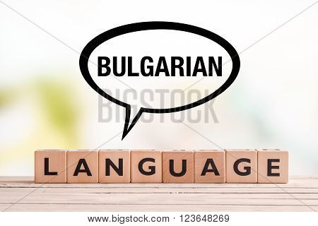 Bulgarian Language Lesson Sign On A Table